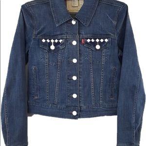 LEVIS || stretch studded crop denim jean jacket XS